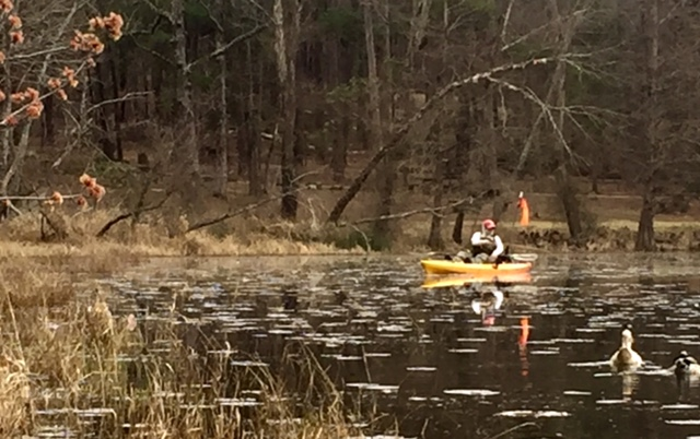 Club member Les Jackson kayak fishing at Daingerfield.